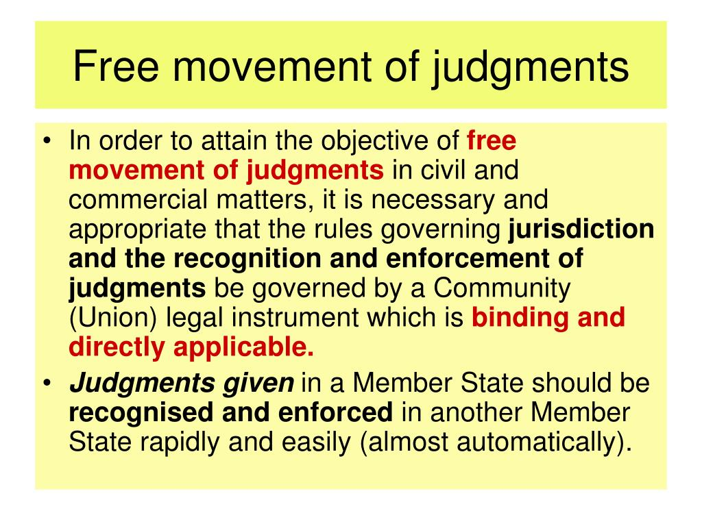 Free movement of judgments