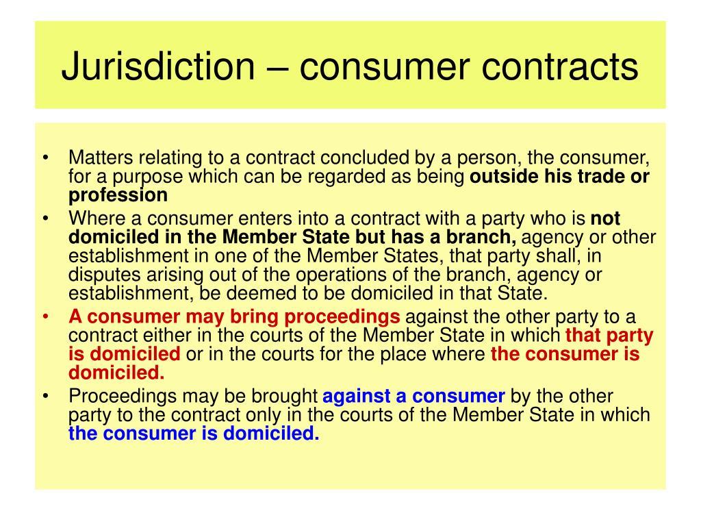 Jurisdiction – consumer contracts