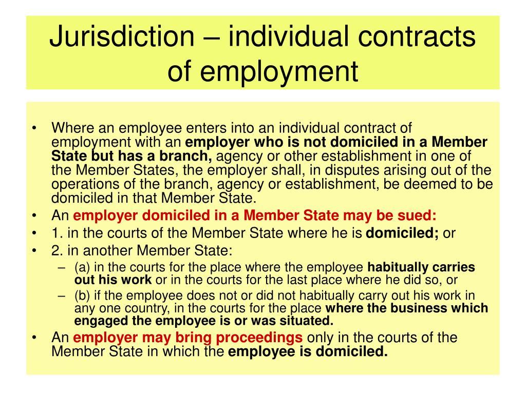 Jurisdiction – individual contracts