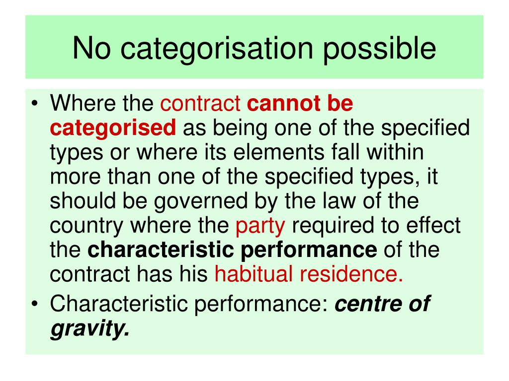 No categorisation possible