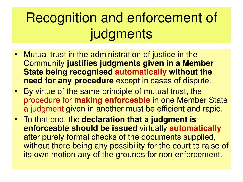 Recognition and enforcement of judgments