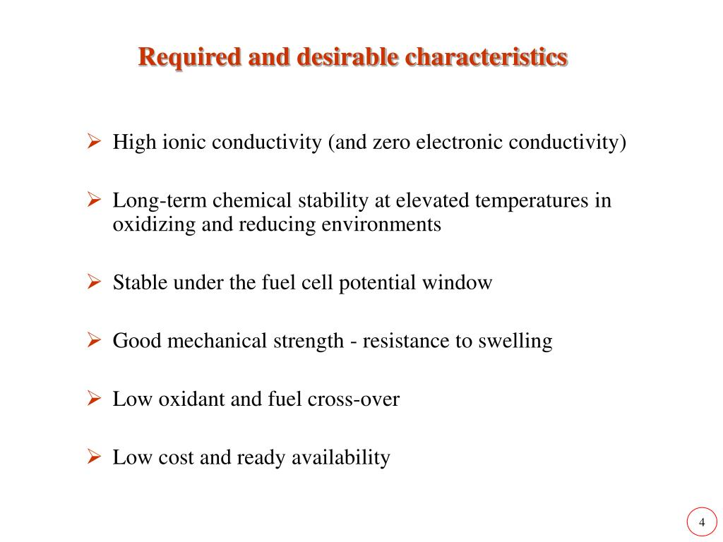 Required and desirable characteristics
