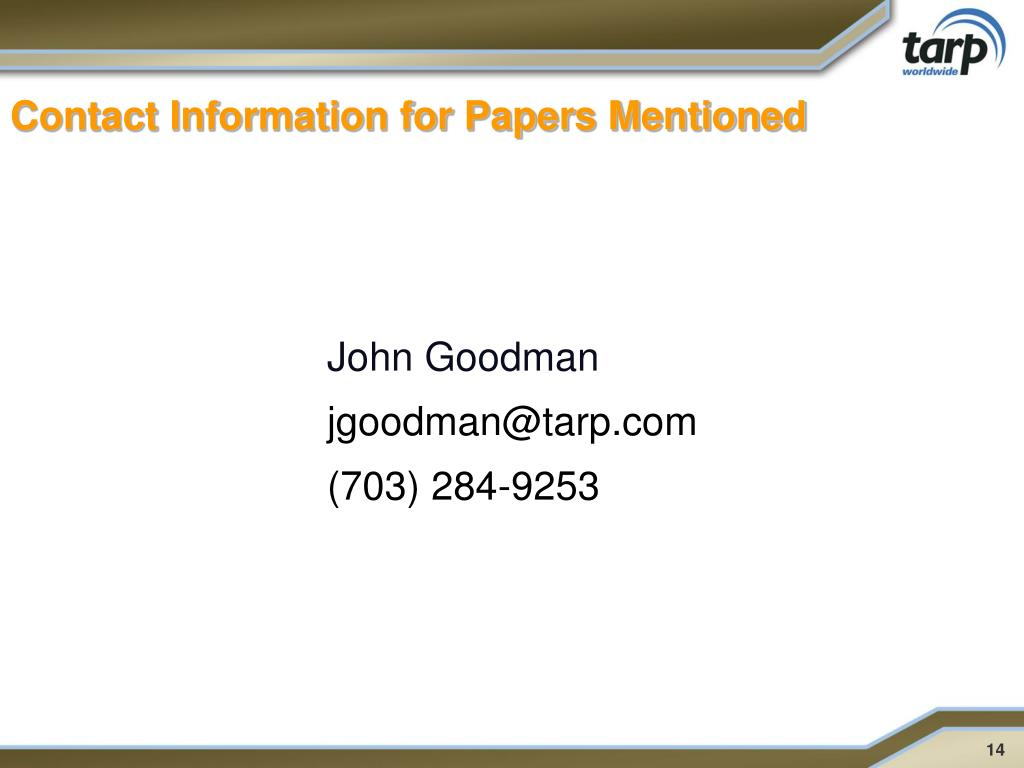 Contact Information for Papers Mentioned