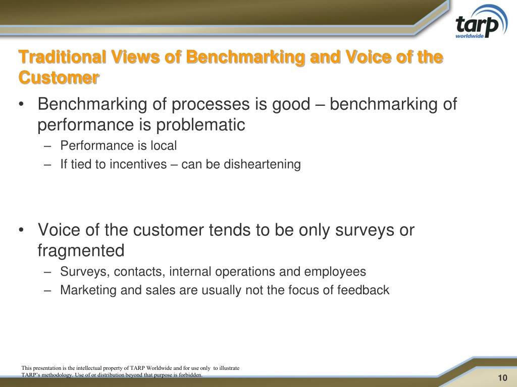 Traditional Views of Benchmarking and Voice of the Customer