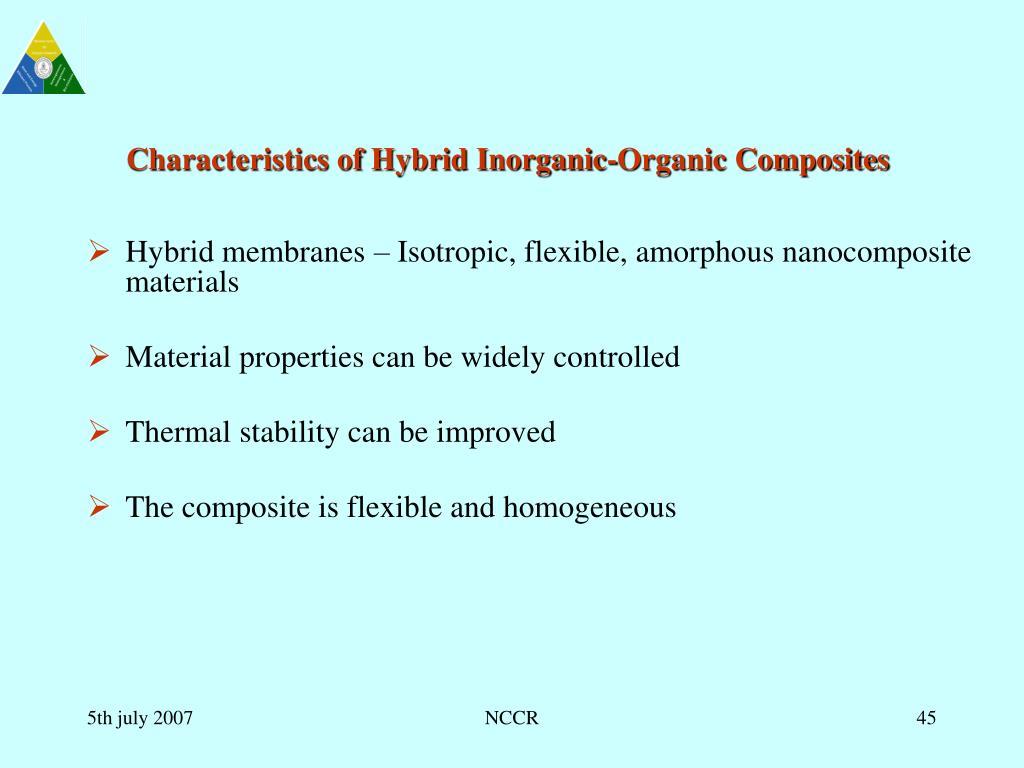 Characteristics of Hybrid Inorganic-Organic Composites