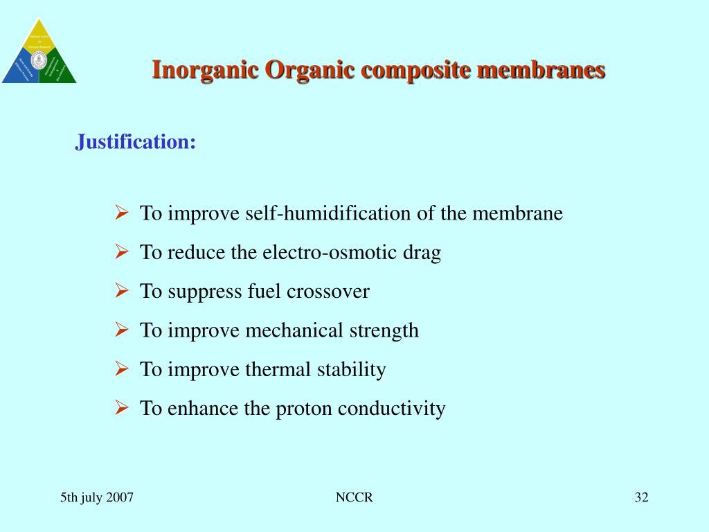 Inorganic Organic composite membranes