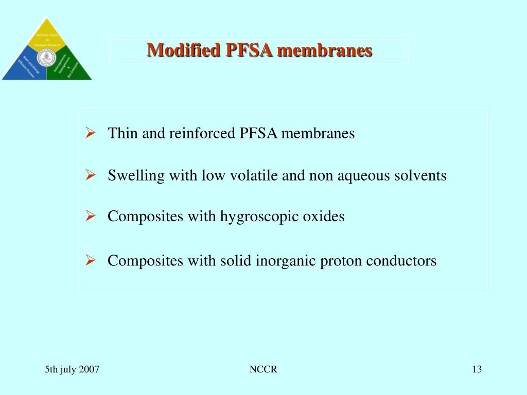 Modified PFSA membranes