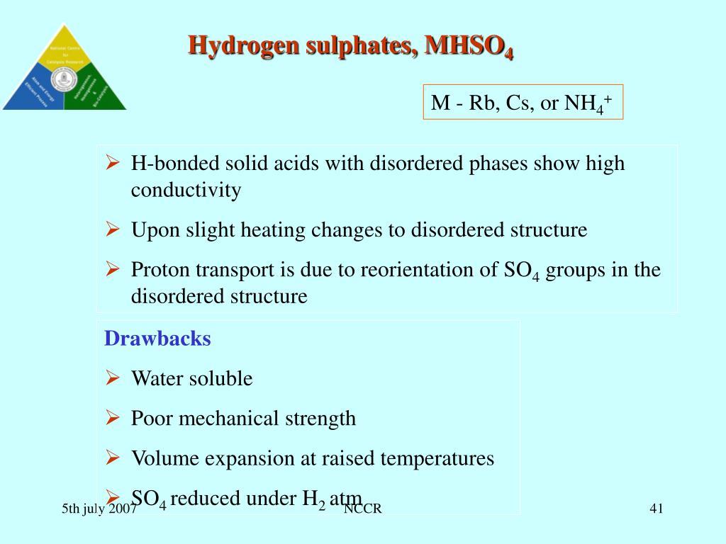Hydrogen sulphates, MHSO