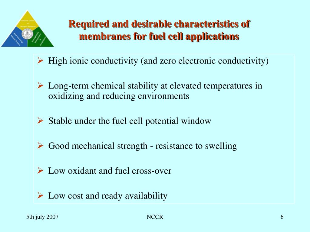 Required and desirable characteristics of membranes for fuel cell applications