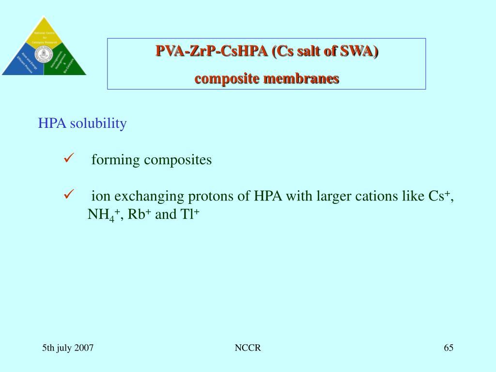 PVA-ZrP-CsHPA (Cs salt of SWA)