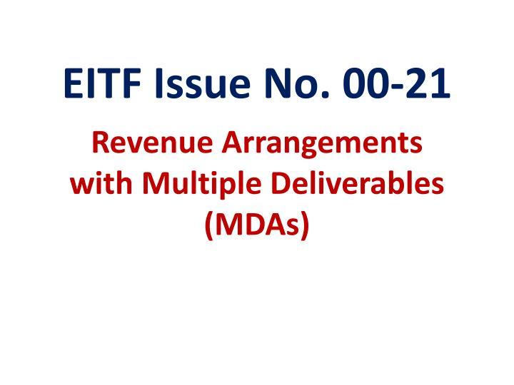 Eitf issue no 00 21 revenue arrangements with multiple deliverables mdas