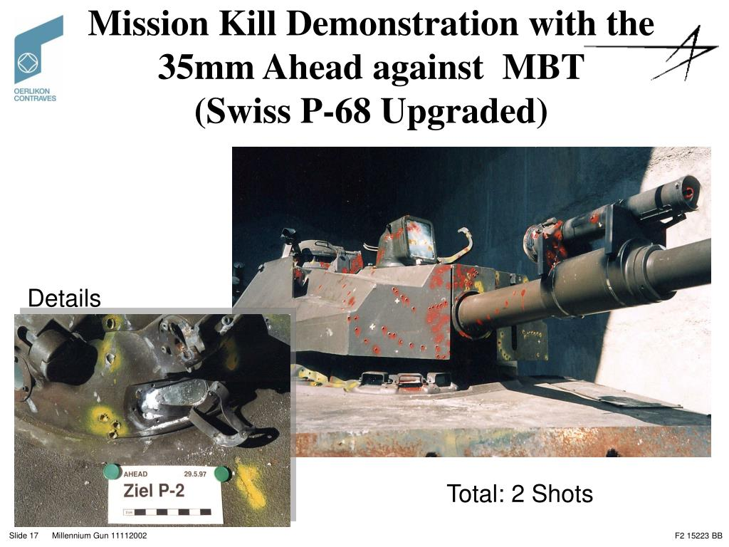 Mission Kill Demonstration with the 35mm Ahead against  MBT