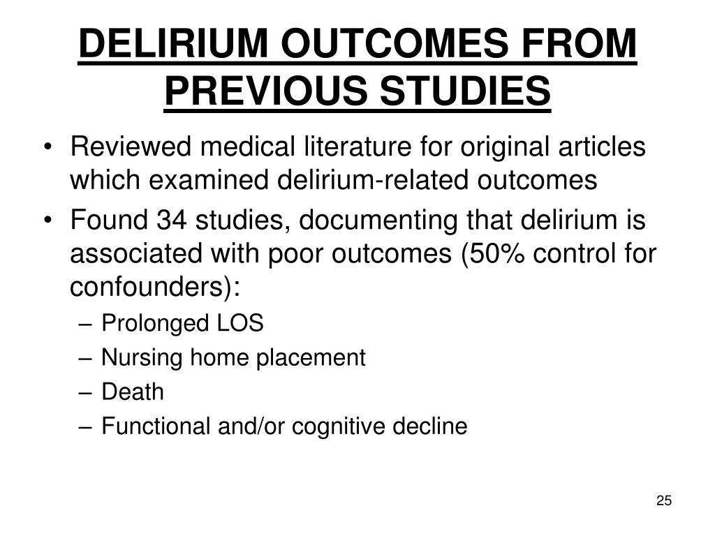 DELIRIUM OUTCOMES FROM PREVIOUS STUDIES