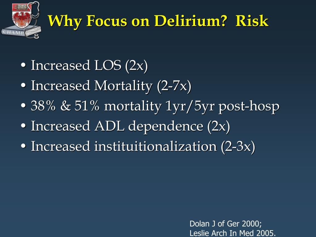 Why Focus on Delirium?  Risk