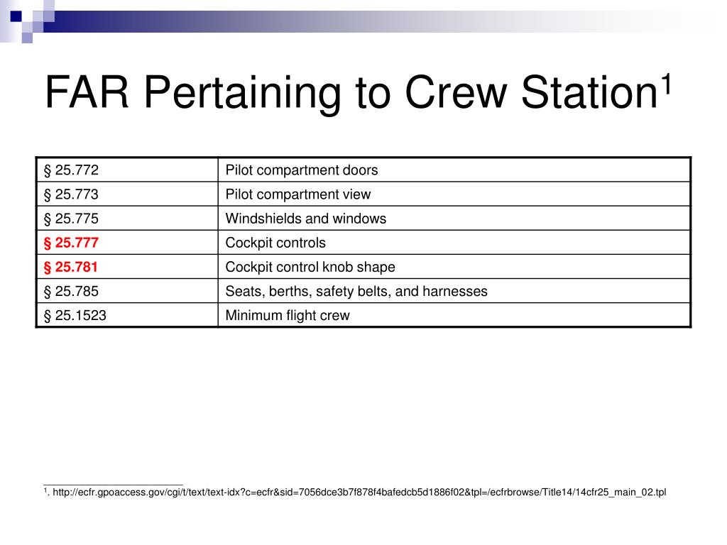 FAR Pertaining to Crew Station