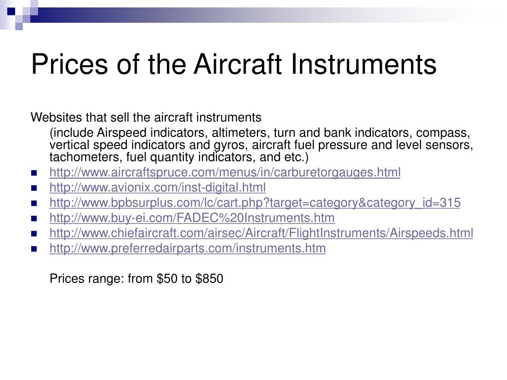Prices of the Aircraft Instruments