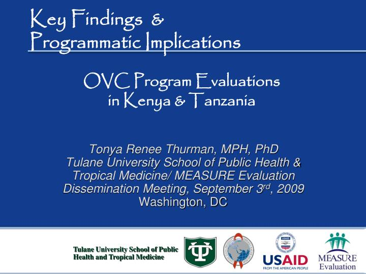 Key findings programmatic implications