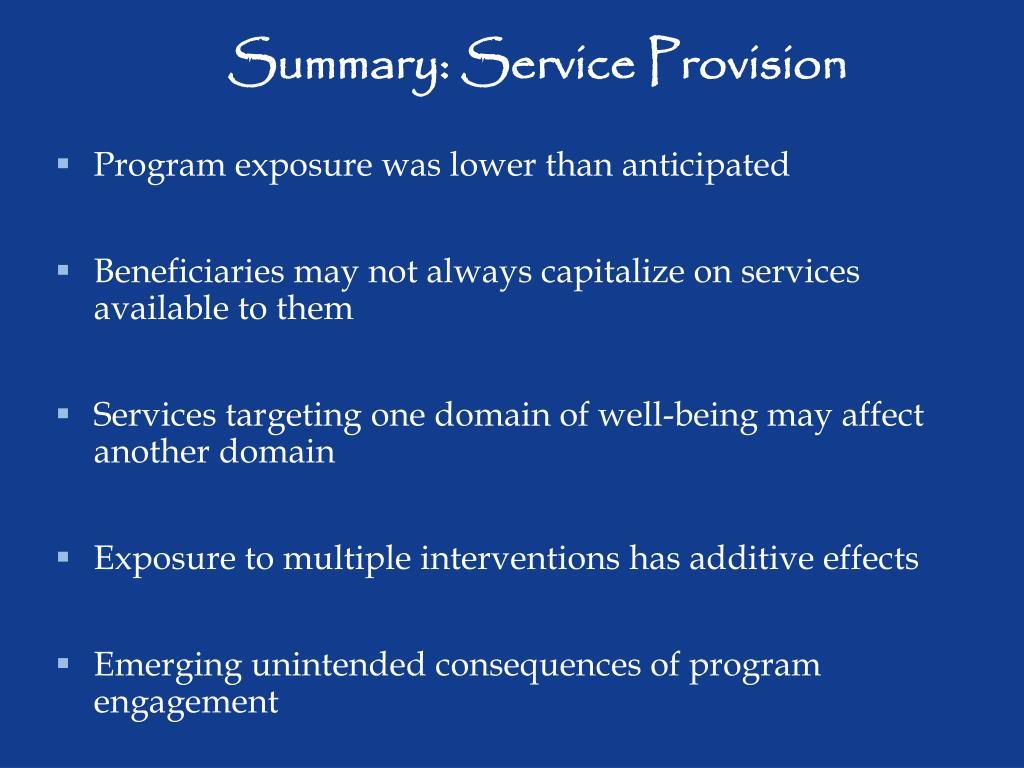 Summary: Service Provision
