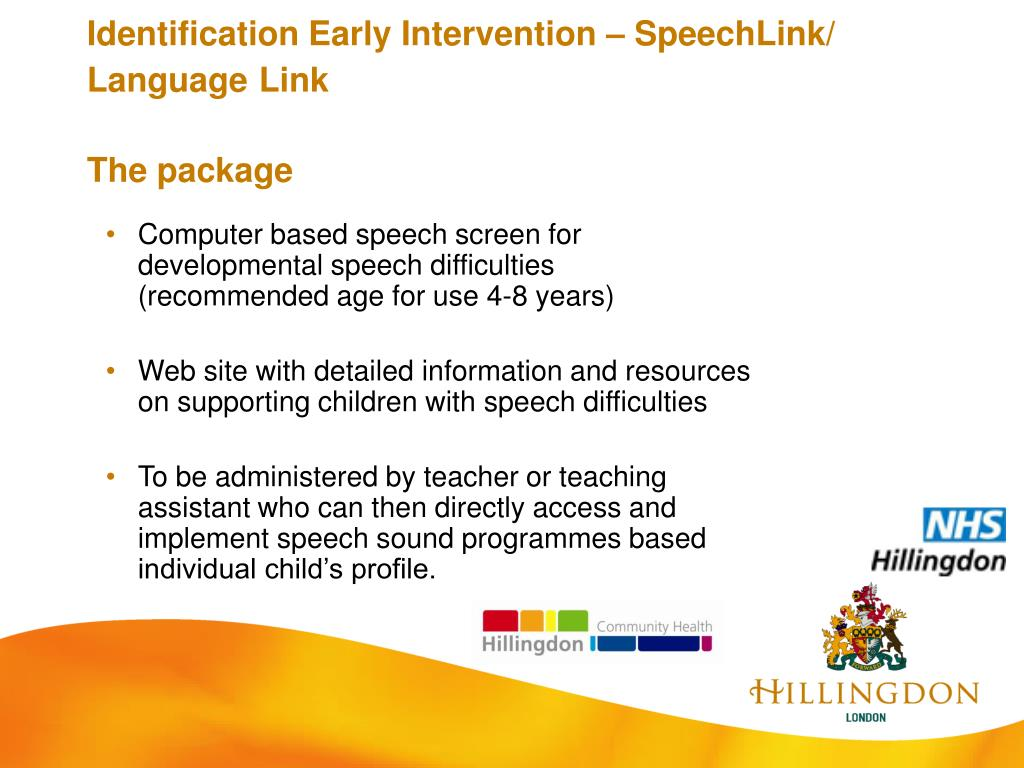 Identification Early Intervention – SpeechLink/ Language