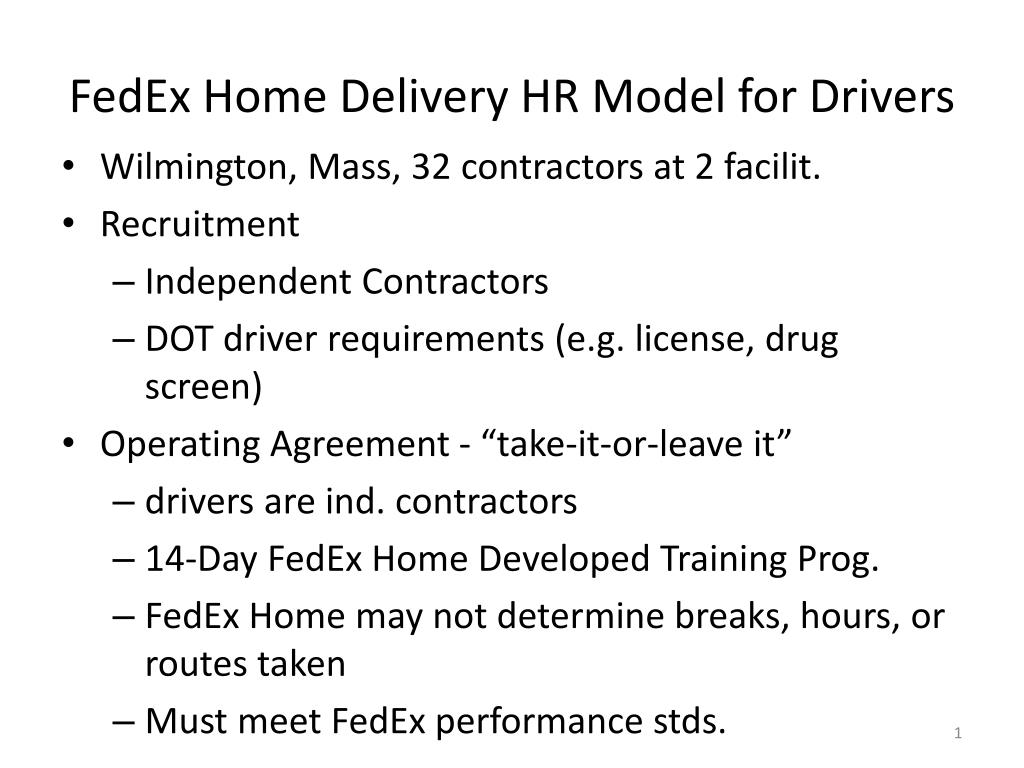 fedex home delivery hr model for drivers