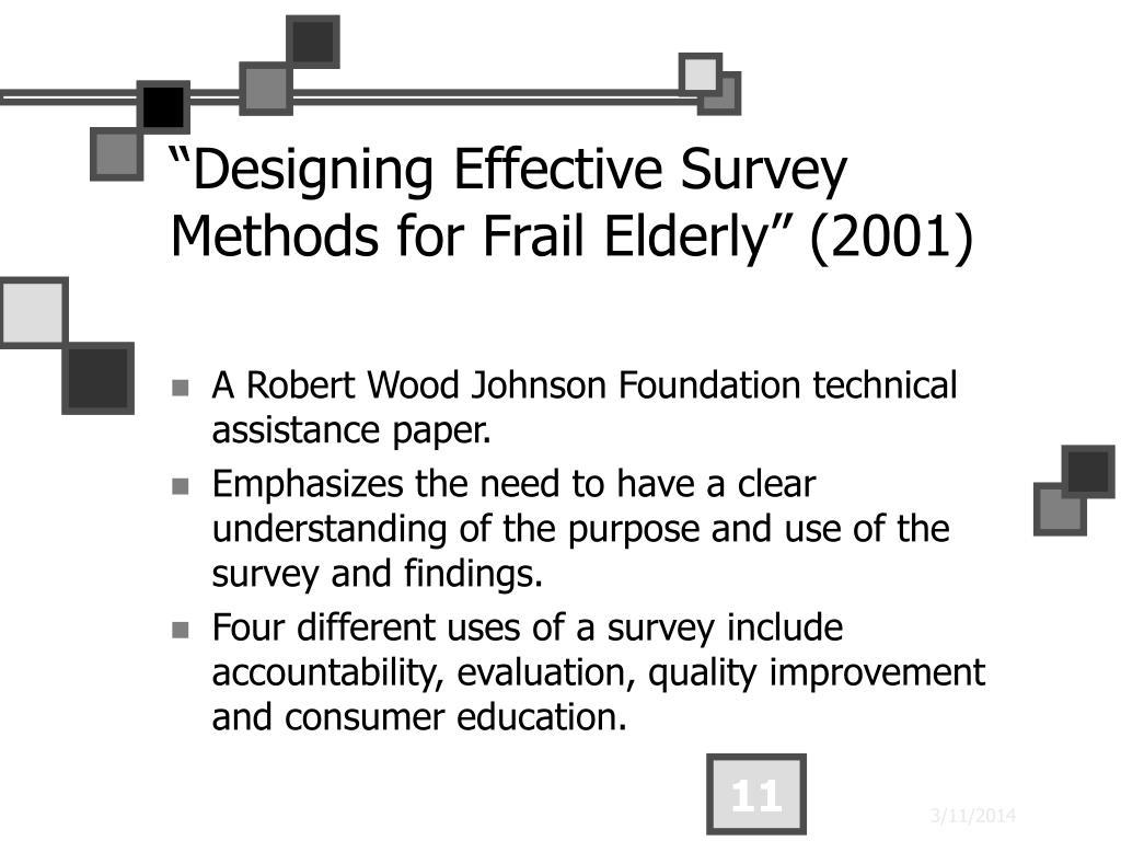 """Designing Effective Survey Methods for Frail Elderly"" (2001)"
