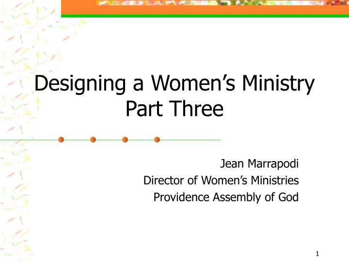 Designing a women s ministry part three