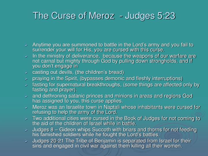 The curse of meroz judges 5 23