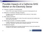 possible impacts of a california ghg market on the electricity sector