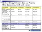 revised energy efficiency cost and potential note costs are currently under review