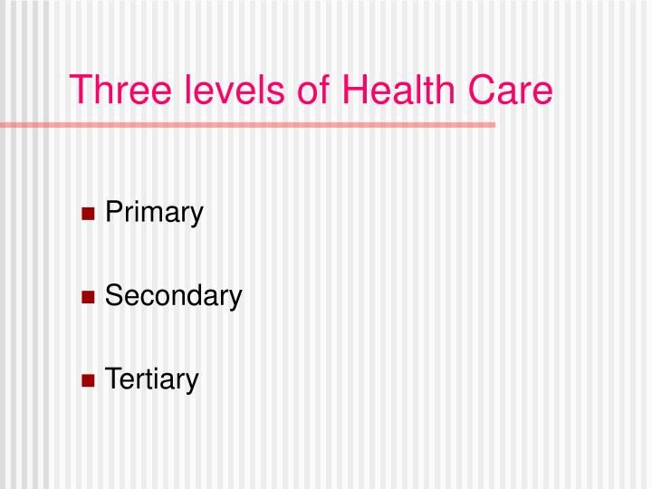 Three levels of health care