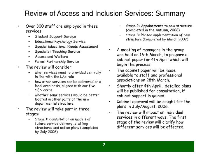 Review of access and inclusion services summary