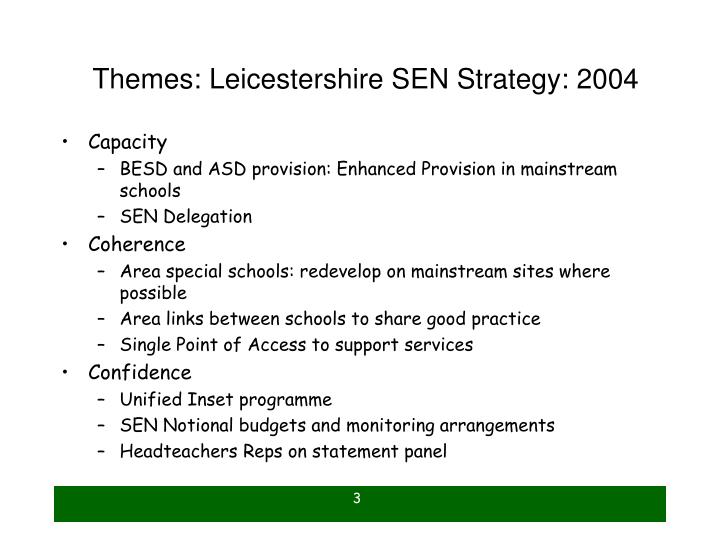 Themes leicestershire sen strategy 2004