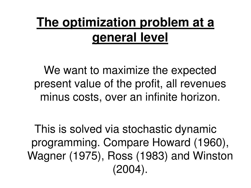 The optimization problem at a general level