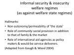 informal security insecurity welfare regimes as against welfare state regimes
