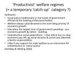 productivist welfare regimes a temporary catch up category