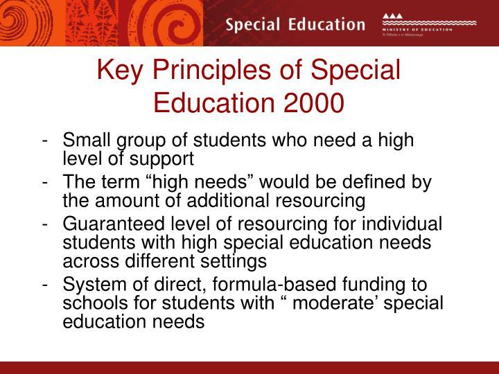 Key Principles of Special Education 2000