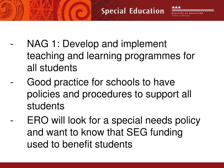 NAG 1: Develop and implement teaching and learning programmes for all students