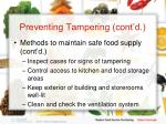 preventing tampering cont d