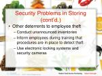 security problems in storing cont d