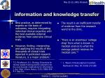 information and knowledge transfer