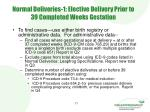 normal deliveries 1 elective delivery prior to 39 completed weeks gestation