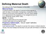 defining maternal death