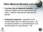 other maternal mortality indicators