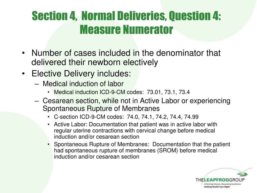 Section 4,  Normal Deliveries, Question 4: