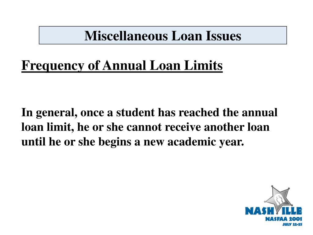Miscellaneous Loan Issues