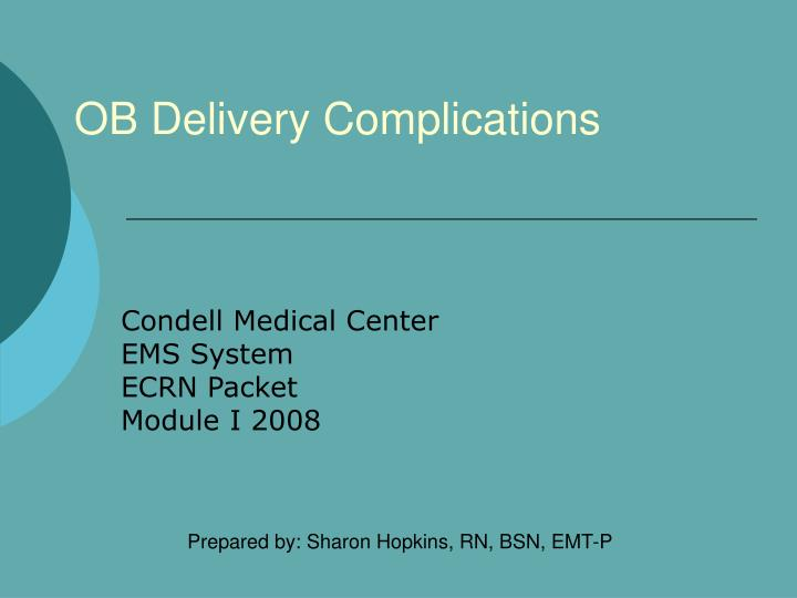 ob delivery complications n.