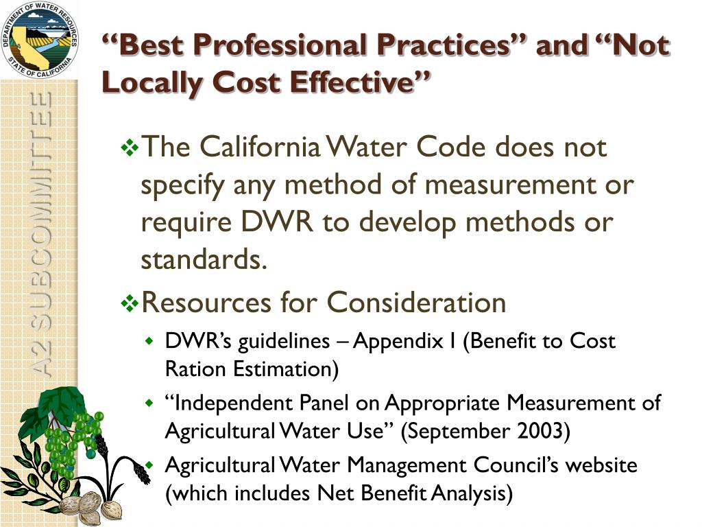 """Best Professional Practices"" and ""Not Locally Cost Effective"""