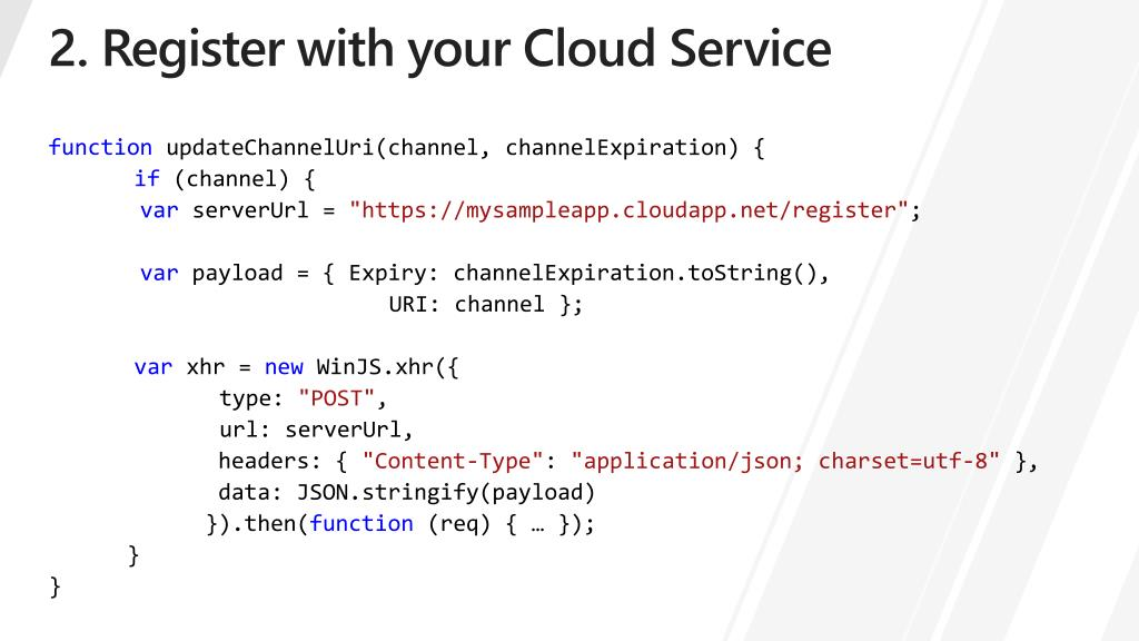 2. Register with your Cloud Service