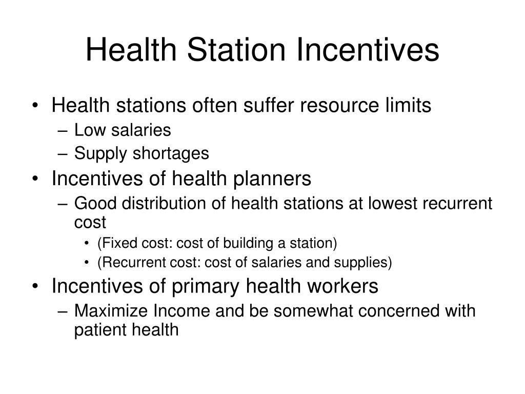Health Station Incentives