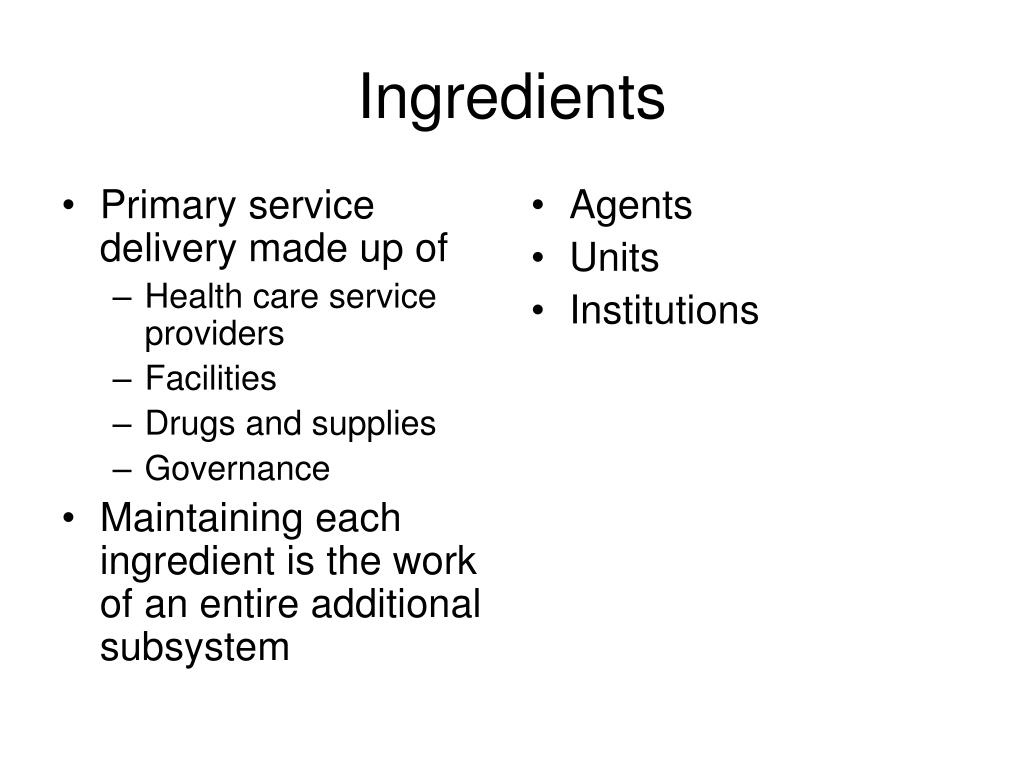 Primary service delivery made up of